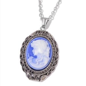 Cameo, Hematite Stainless Steel Pendant With Chain
